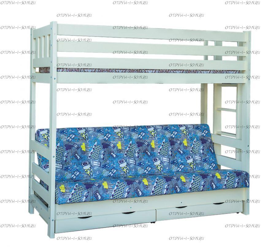 Кровать двухъярусная с диваном Фелли с диваном