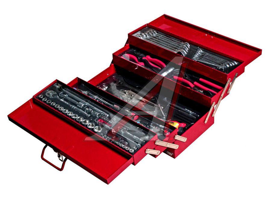 """Набор инструментов 108 предметов 1/4"""",1/2"""" в переносном инстр. ящике 535х258х225мм (5 лотков) JTC"""