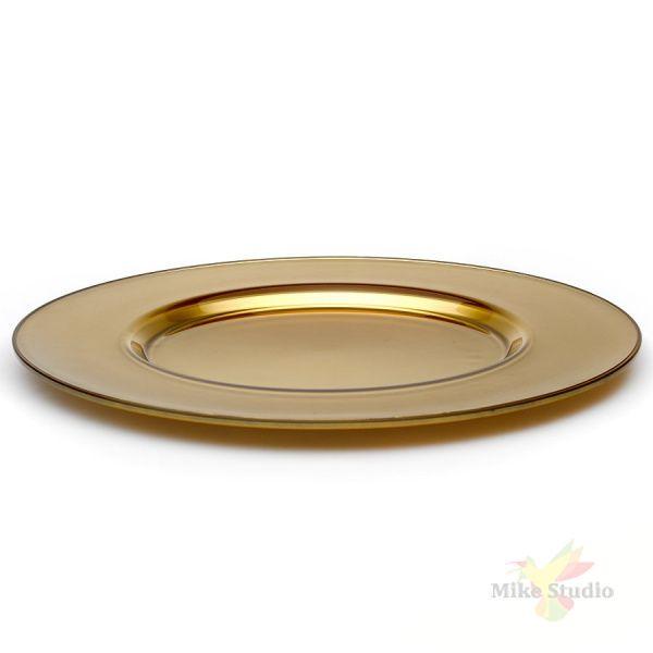"""Блюдо круглое Pasabahce """"Arte"""", цвет золотистый, D=35 см"""