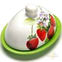 Маслёнка с крышкой Клубника