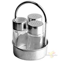 Набор д/специй соль,перец,стак.д/зубоч.; сталь нерж.,стекло; D=75,H=125,L=75,B=75мм; серебрян.