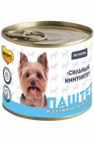 Мнямс «Сильный иммунитет» Паштет из утки и перепела для собак всех пород, 200 г