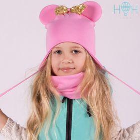 HOH ШВ20-27310401 Шапка Мышка с бантиком из золотых пайеток и завязками, розовый