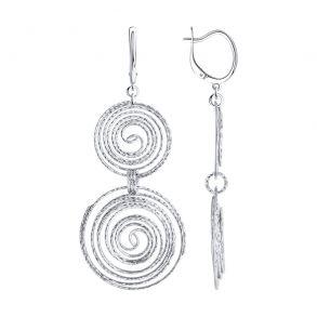 Серьги из серебра с алмазной гранью 94024282 SOKOLOV
