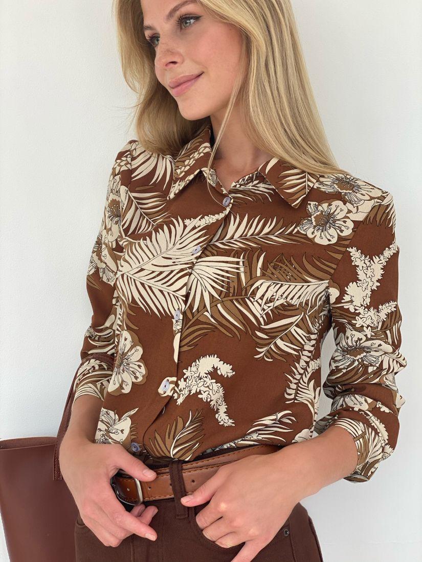 s2095 Рубашка классическая из мягкой вискозы кофейная