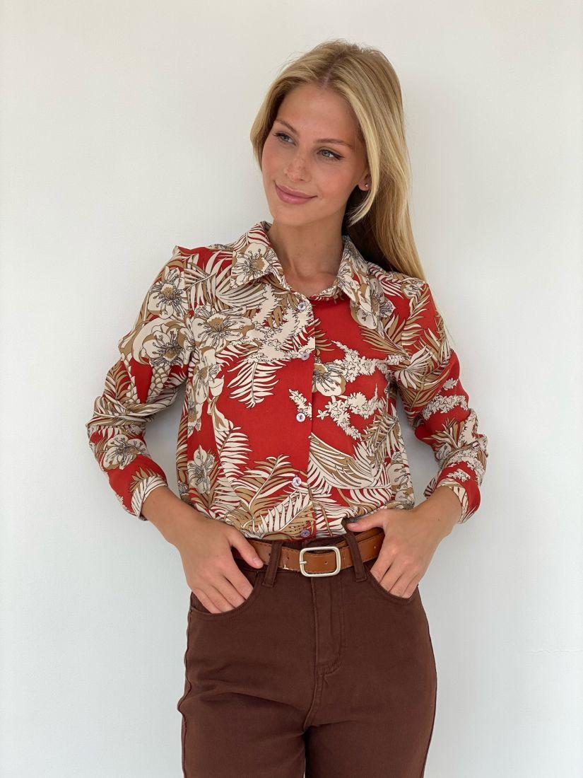 s2097 Рубашка классическая из мягкой вискозы в тёплом красном