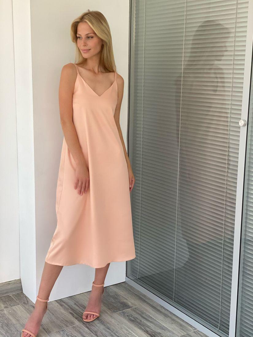 s2105 Платье шёлковое premium в персиковом цвете