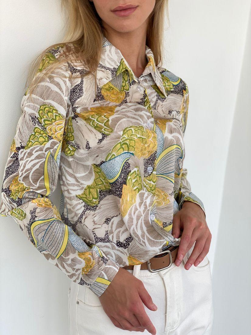 s2112 Рубашка классическая с серо-лимонной абстракцией
