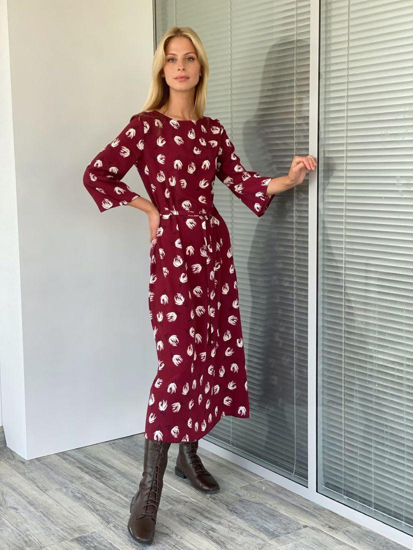 s2116 Платье бордовое с цветами