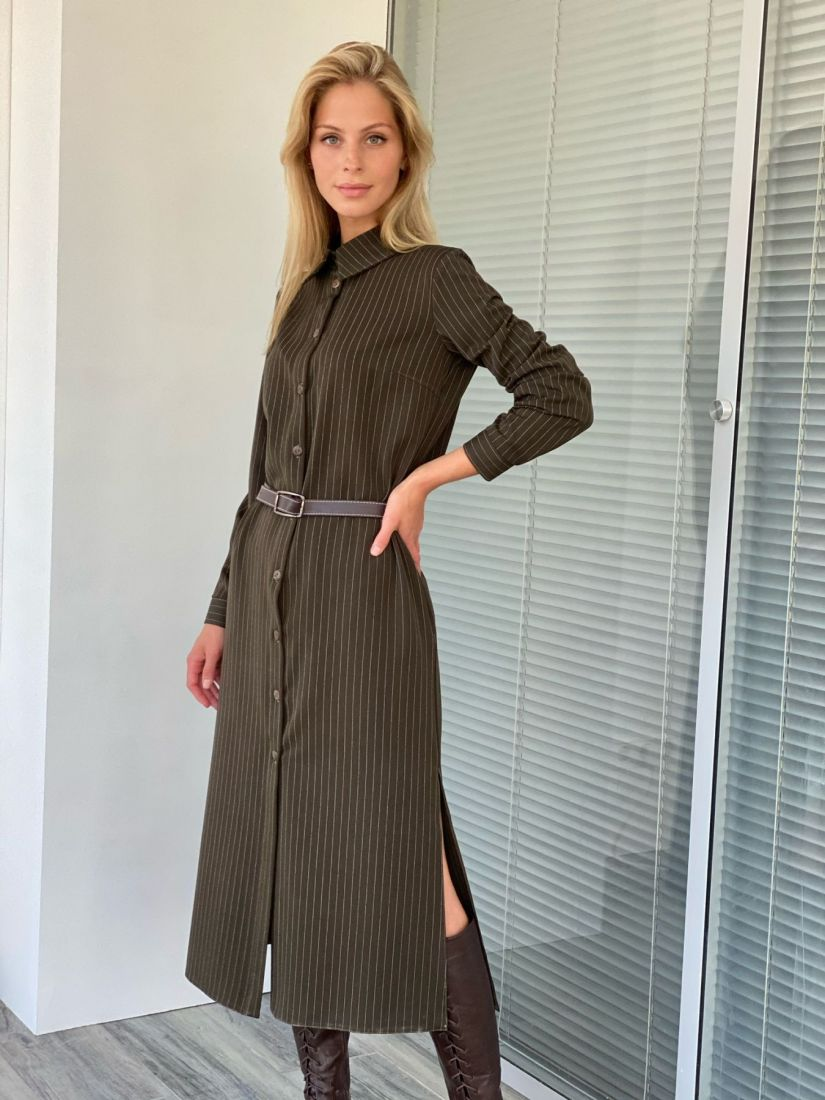 s2117 Платье-рубашка из костюмного хлопка в цвете хаки