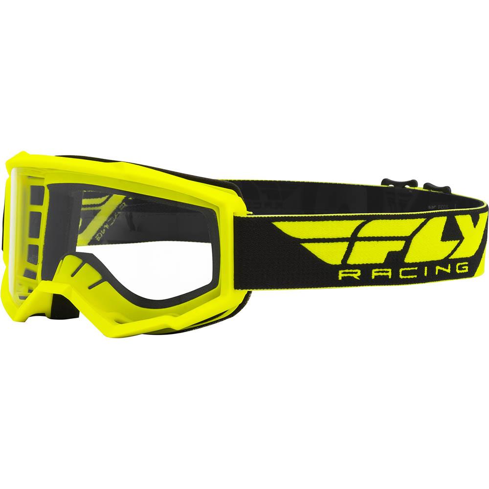 Fly Racing Focus Hi-Viz Yellow Clear Lens очки для мотокросса