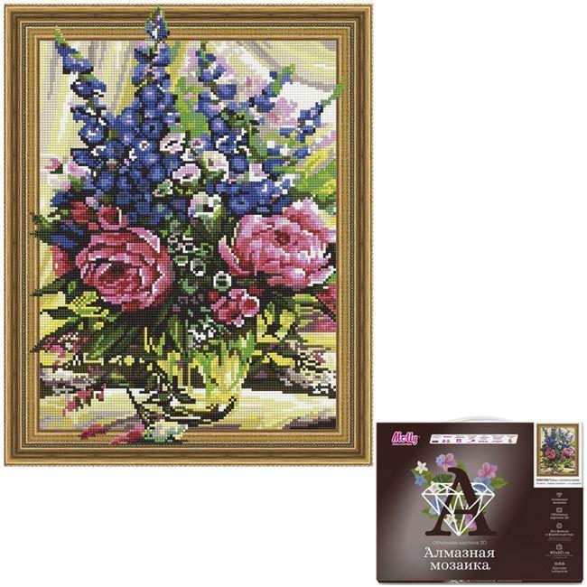 Набор Картина 3D мозаика с нанесенной рамкой.Пионы с колокольчиками 40*50см KM0769