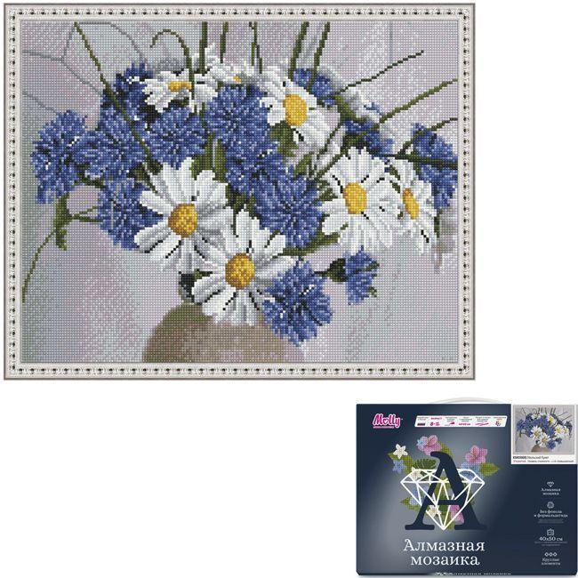 Набор Картина мозаика с нанесенной рамкой.Июльский букет 40*50см KM0868
