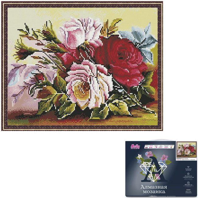 Набор Картина мозаика с нанесенной рамкой.Красота цветов 40*50см KM0826