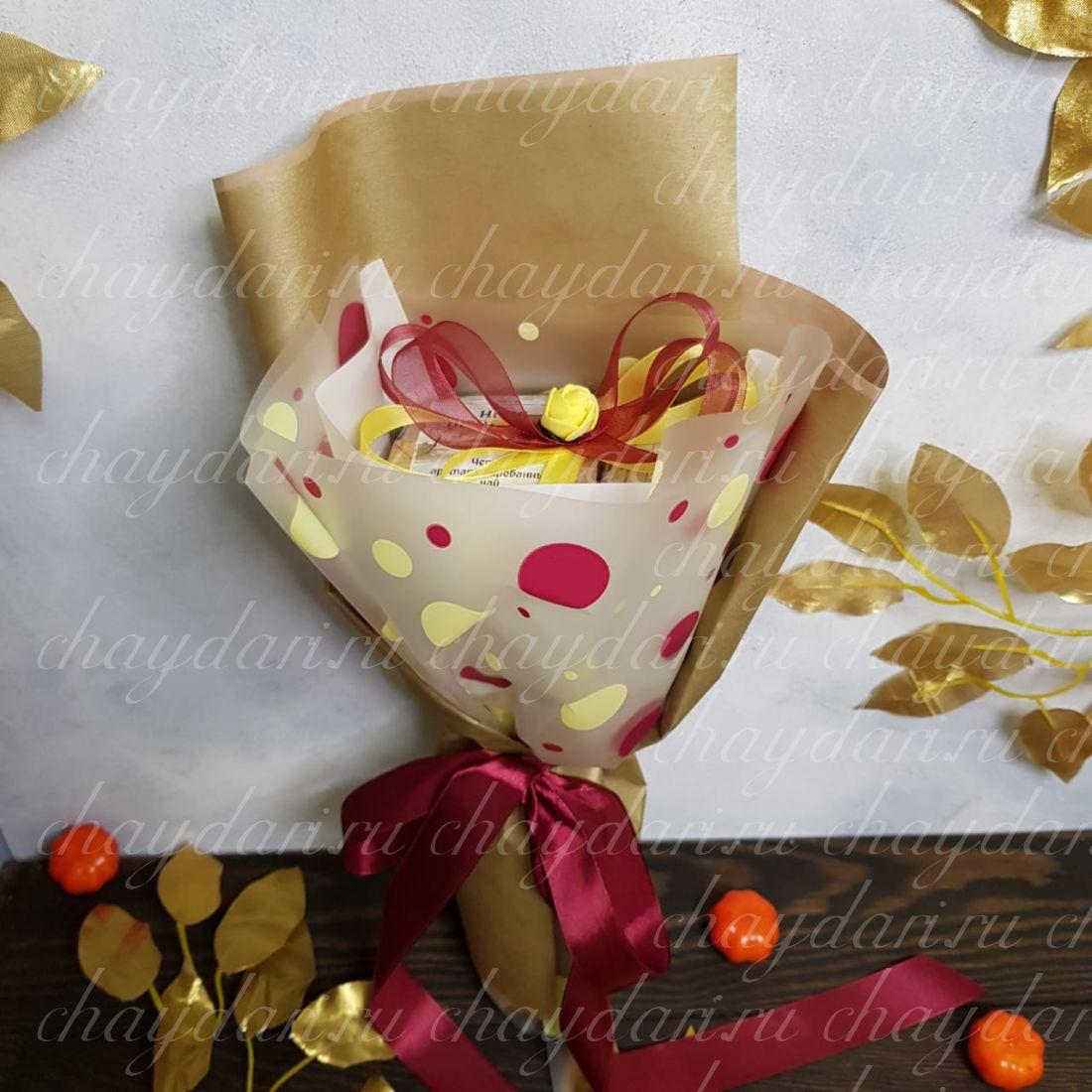 """Букет из чая и сладостей """"Осенние цветы"""""""