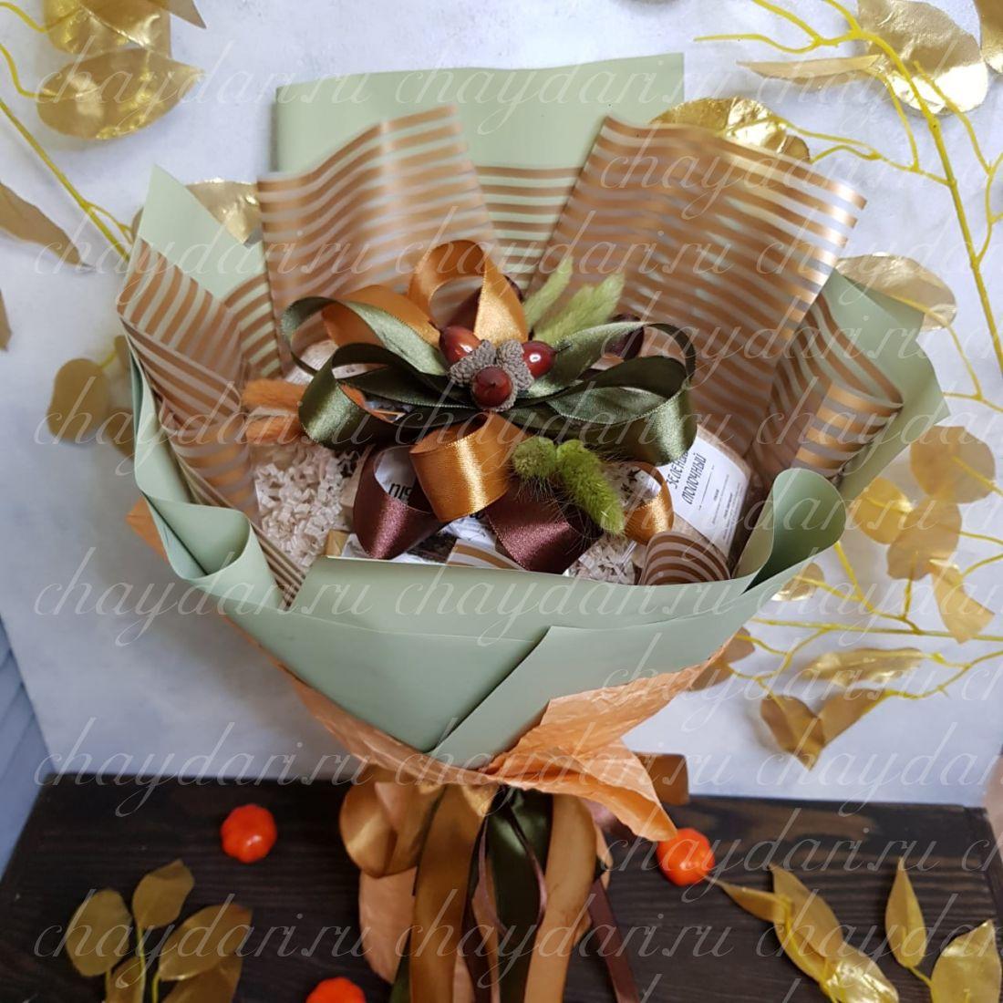 """Букет из чая и конфет """"Осенние орехи"""""""