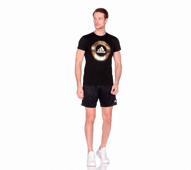 Футболка Adidas Combat Sport T-Shirt Boxing черно-золотая, размер S, артикул adiCSTS01B