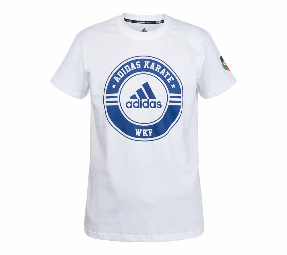 Футболка Adidas Combat Sport T-Shirt Karate WKF бело-синяя, артикул adiCSTS01WKF