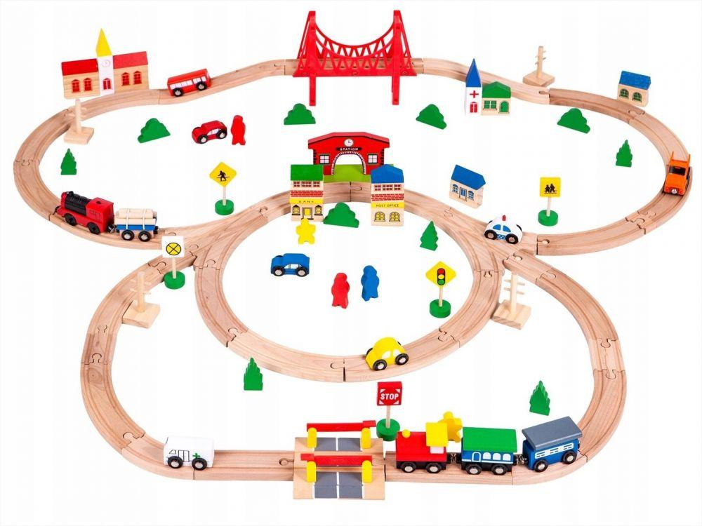 Деревянная железная дорога Eco Toys 90 элементов HM014665
