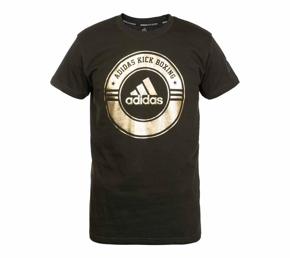 Футболка Adidas Combat Sport T-Shirt Kick Boxing зелено-золотая, артикул adiCSTS01KB