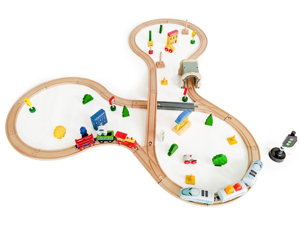 Деревянная железная дорога Eco Toys 69 элементов HM015147