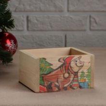 """Кашпо деревянное . Санта на быке"""", 12,5×10×9,5 см"""