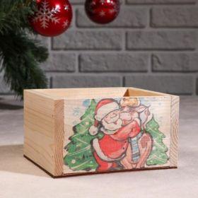 """Кашпо деревянное . Коровка и Санта"""", 12,5×10×9,5 см"""