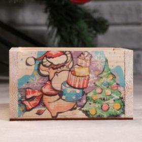 """Кашпо деревянное . Бычок с подарками"""", 12,5×10×9,5 см"""