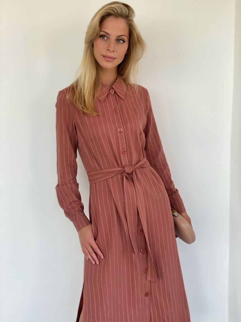 s2121 Платье-рубашка из мягкого хлопка в полоску в цвете розовый кедр