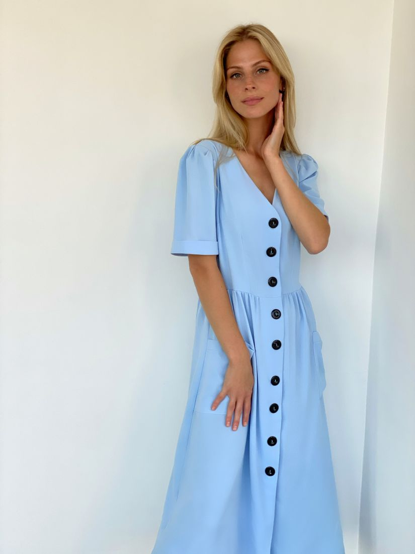 s2123 Платье в стиле ретро в небесном цвете