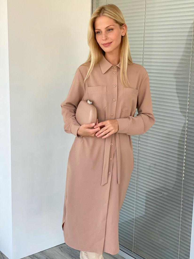 s2124 Платье-рубашка со скошенной линией плеча розово-бежевое