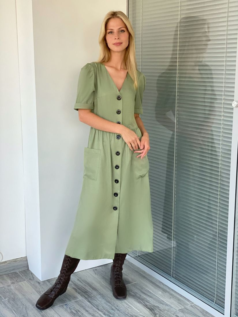 s2125 Платье в стиле ретро в оливковом цвете