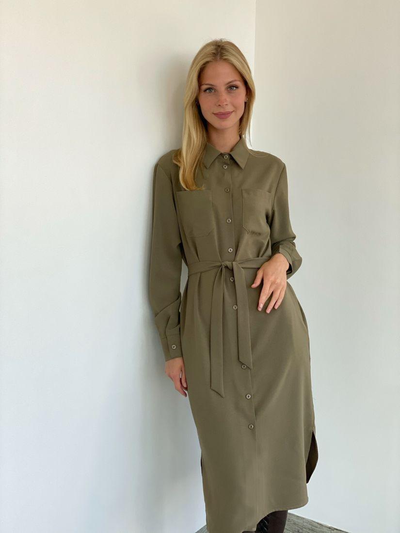 s2128 Платье-рубашка со скошенным плечом из крепа в цвете хаки