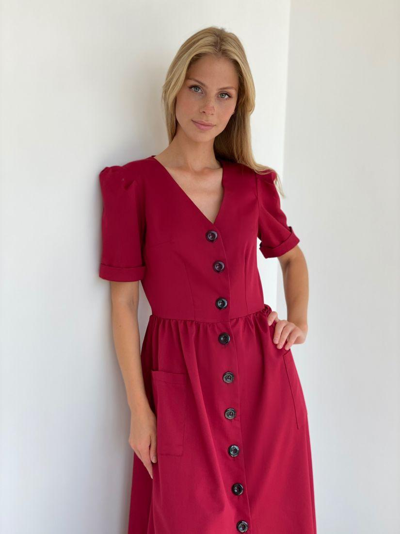 s2136 Платье в стиле ретро в цвете красная груша