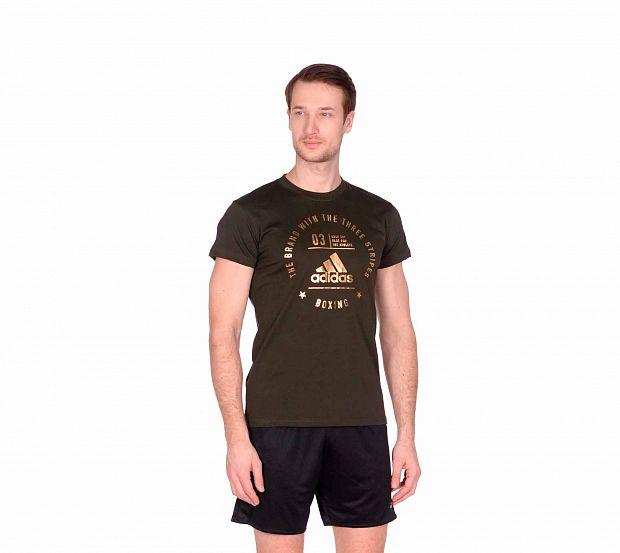 Футболка Adidas The Brand With The Three Stripes T-Shirt Boxing зелено-золотая, артикул adiCL01B