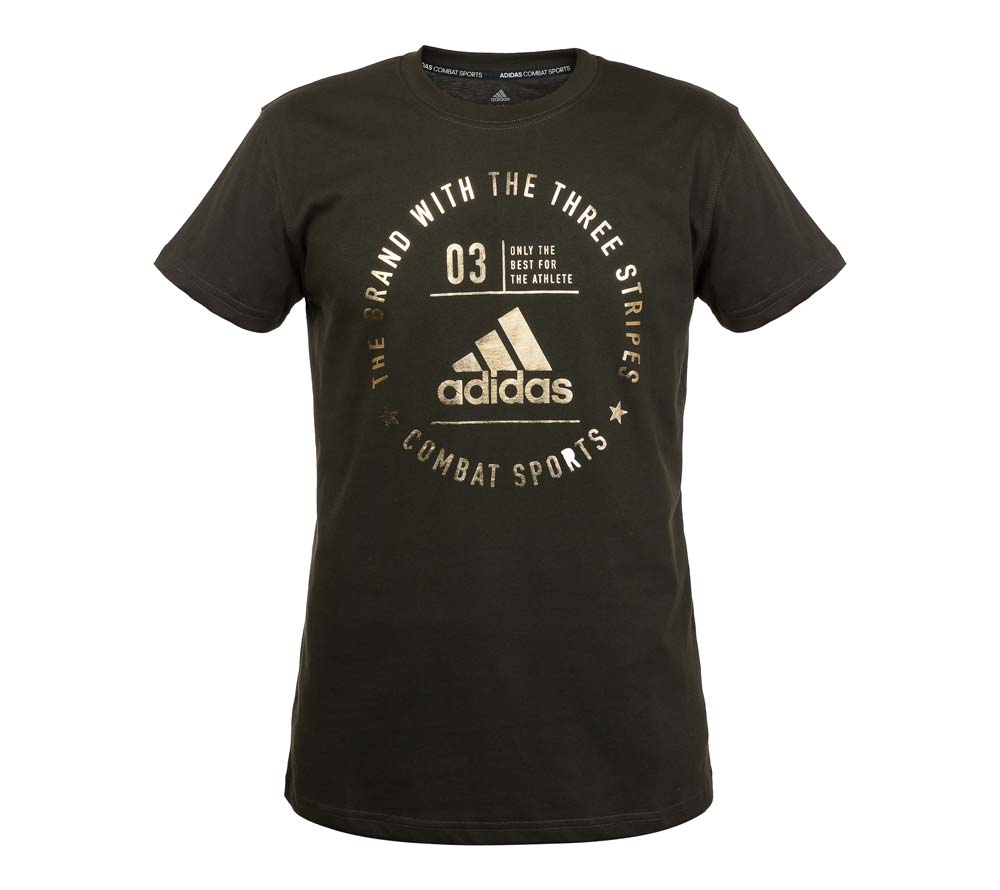 Футболка Adidas The Brand With The Three Stripes T-Shirt Combat Sports зелено-золотая, артикул adiCL01CS