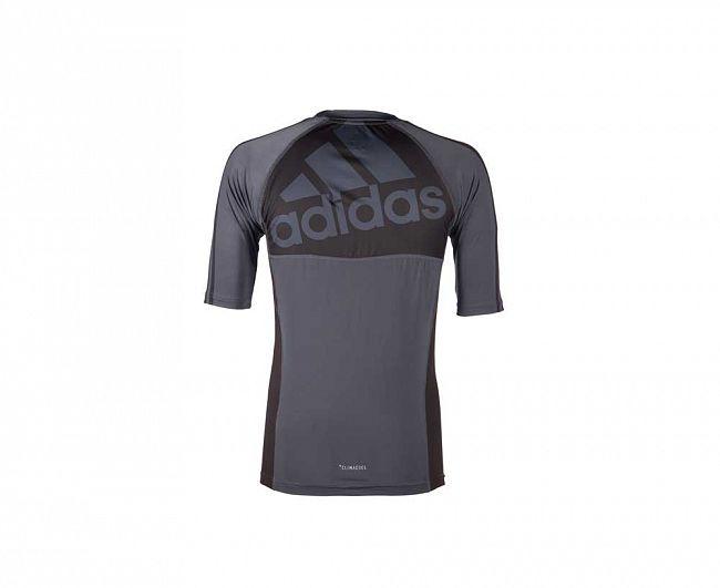 Футболка Adidas компрессионная (Рашгард) Grappling Rashguard Short Sleeve черно-красная, артикул adiBJJR01
