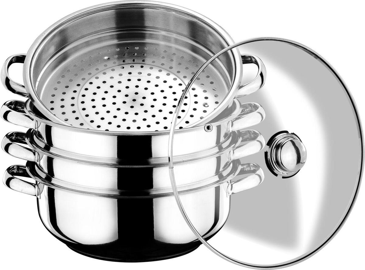 Мантоварка для индукционной плиты Arian Gastro диаметр 30 см со стеклянной крышкой 3 сетки Турция 9213.008