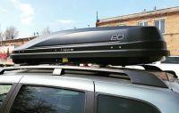 Автомобильный бокс на крышу Евродеталь Magnum 390 черный карбон БЫСТРОСЪЁМ