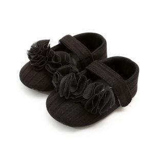 Сандалики черные с рюшей 11 см