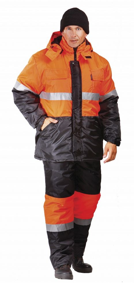 Костюм зимний мужской Профи (тк.Оксфорд) п/к, оранжевый/черный