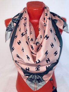 Шелковый платок Chanel розовый, арт. 094