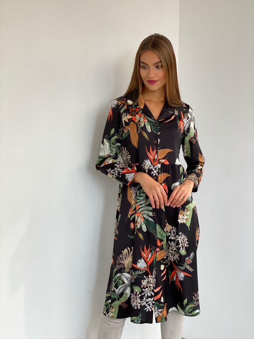 s2548 Платье-рубашка чёрное с крупным принтом