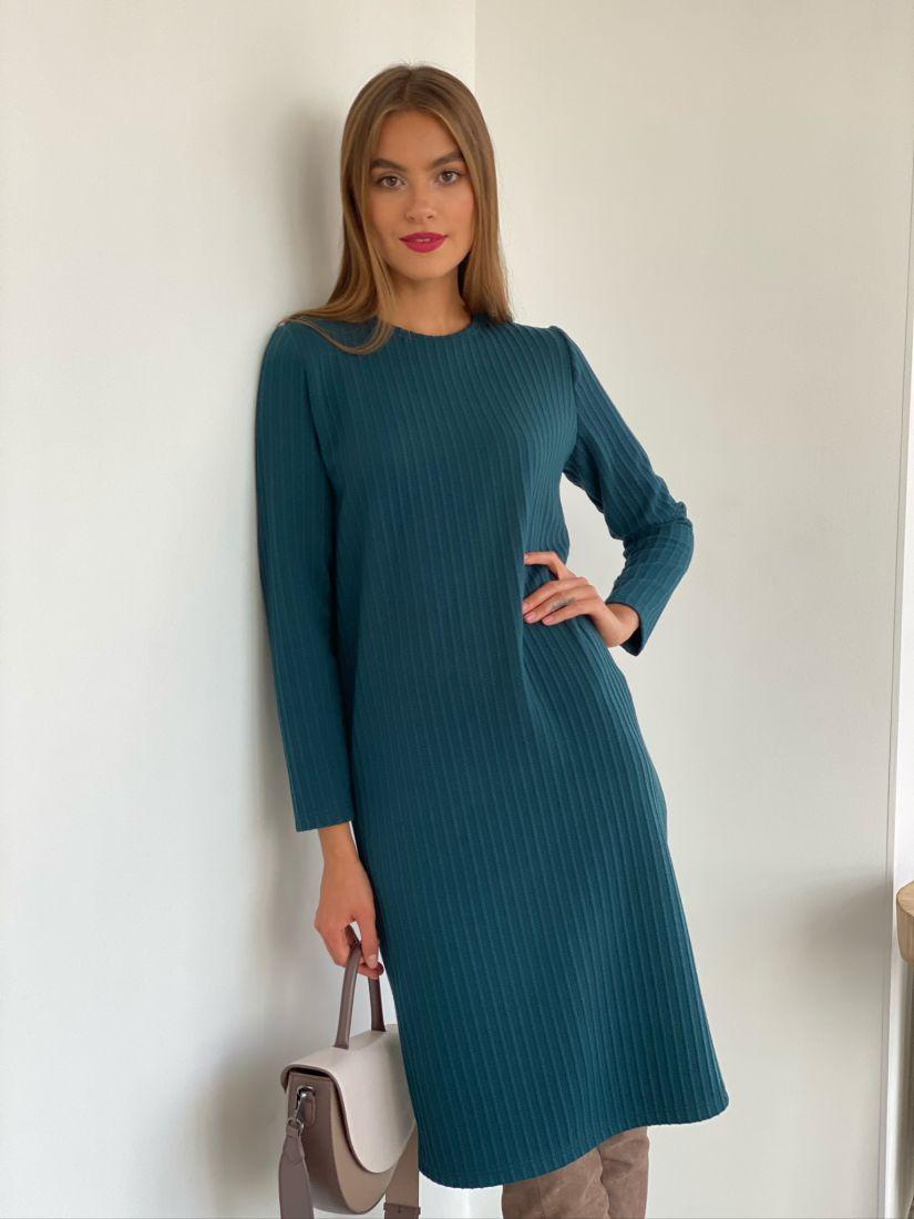 s2570 Базовое платье трикотажное в цвете морской волны