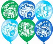Воздушный шар (12''/30 см) Техника (Монстр-Трак), Ассорти, пастель, 2 ст, 50 шт.