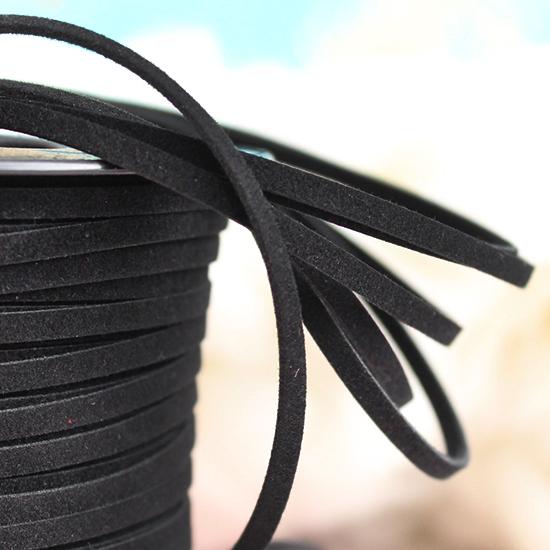 Шнур из искусственной замши -  Чёрный