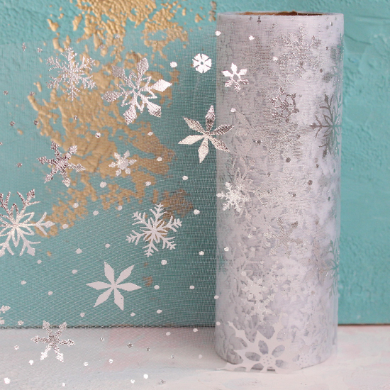Фатин со снежинками - Серебряный 14 см