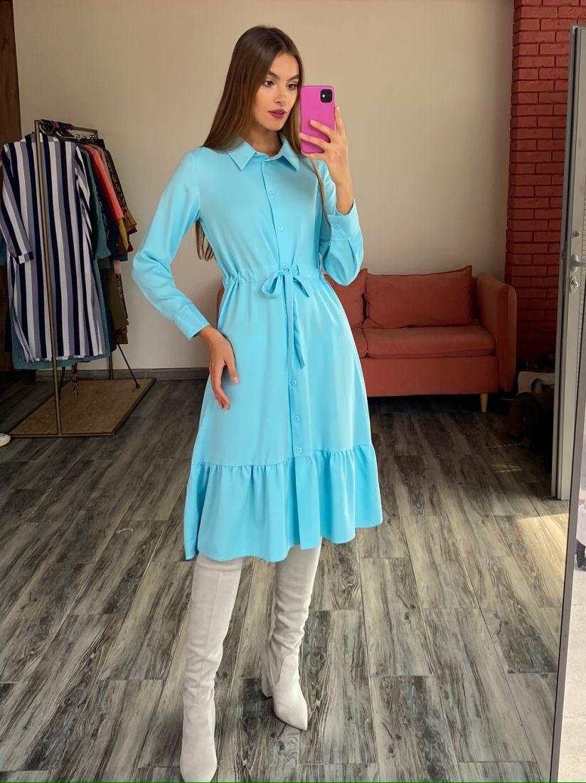 s2593 Платье-рубашка с кулиской в цвете тиффани