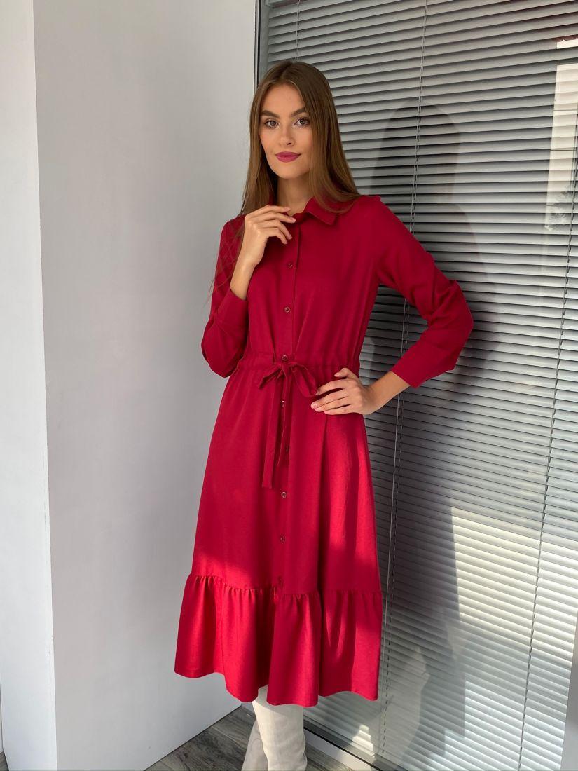 s2595 Платье с кулиской в цвете бордо