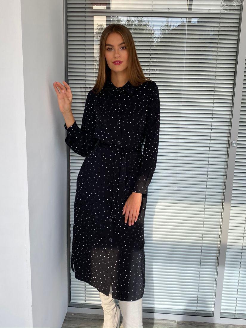 s2601 Платье-рубашка в горох чёрное
